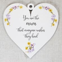 9.5cm Heart Shape Gift cut from 3mm Ply fully printed with UV Ink - Mum